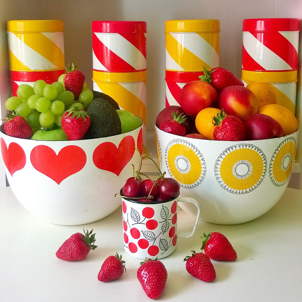 Elluyellow retro hedelmäkulhot