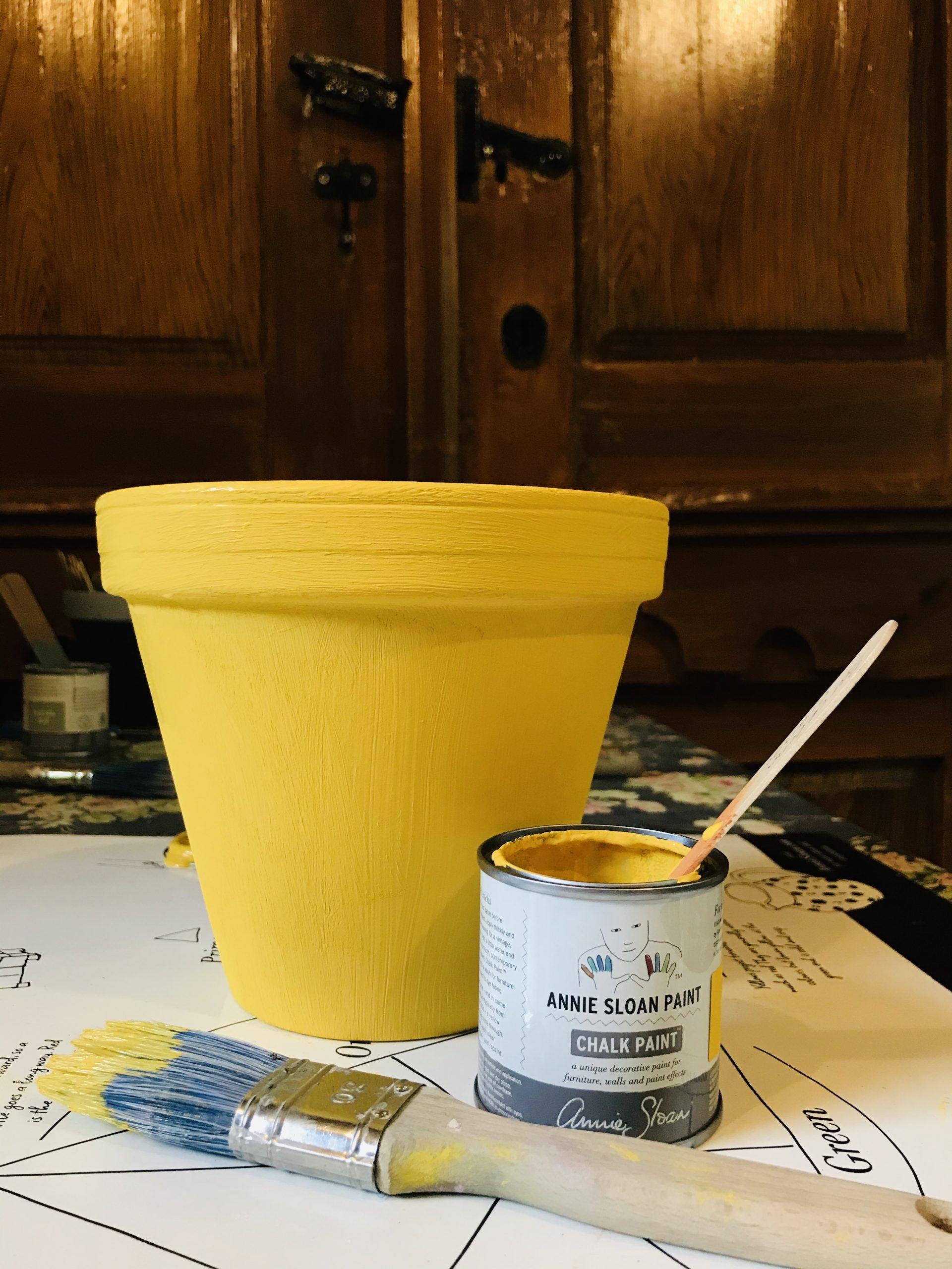 Elluyellow keltainen itse maalattu ruukku
