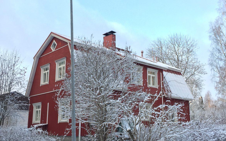 Elluyellow joulu punainen vanha talo