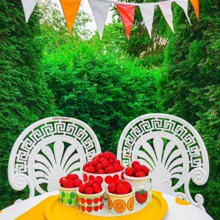 """Huomenta💛 Miten olis kunnon vitamiiniöverit?🍓Istahda tähän pihamme nautiskelunurkkaukseen kanssani ja valitse: minkä kulhon nappaat itsellesi herkuteltavaksi?😋  Jokainen värikäs kulho sisältää mielin määrin kesän mansikkaista makua ja tuhdin C-vitamiinipläjäyksen!🤩 Tiesitkö, että mansikka voittaa appelsiininkin C-vitamiinipitoisuudessaan?🙌  Me ollaan tänä kesänä syöty tuoreita marjoja enemmän kuin koskaan. Ollaan siis oikein pistetty törsäillen marjakojuilla😄  Talven sydämessä, kesän raikkaita makuja kaivatessani sen päätin: kyllä tässä elämässä tulee laitettua niin typeriinkin juttuihin rahaa, että tuoreiden marjojen vitamiiniöverit on ilman muuta törsäyksen järkevyyden TOP 3:ssa💪  Lapsuuden parhaita kesämuistojani onkin ne päivät, kun isäni toi Turun torilta kotiin mansikkalaatikot. Tärkein ohje meille neljälle lapselle oli: """"Ensin syödään niin paljon ku napa vetää, sitten loput vasta säilötään.""""😂 Tätä hienoa perinnettä olen pyrkinyt jatkamaan seuraavalle polvelle✋   (…tosin vadelman kanssa tämä ei ilmeisesti vielä toimi - sain siitä juuri esikoiseltani """"rakentavaa"""" palautetta…🙈 )  Oletkos sä jo saanut tuoreiden kotimaisten marjojen vitamiiniähkyn vai ootko panostanut vitamiinien säilömiseen talven varalle?❤️ Paljonkos teillä on tapana ostella ja/tai säilöä marjoja?🍓🫐🍒  Suunnataan vielä marjakojuille niin pitkään kun suinkin ja pistetään törsäten vitamiiniövereihin😘 * * * #mansikat #mansikka #kirppislöytö #kirppislöydöt #kesä #kesä2021 #piha #pihajapuutarha #puutarha #keltainen #värikäs #värikäskoti #happyhome #loppisfynd #inspiraatio #sisustus #sisustusinspiraatio #sisustusidea #sisustusideat #instablogitlifestyle #instablogitsisustus #instablogitsuomi #hyvinvointi #hyvinvointivalmentaja #retrokoti #lifestylebloggaja #kotimaanmatkailu #kattaus #omakoti #meilläkotona"""