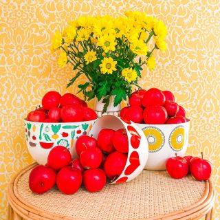 🍎Ihana omppuaika!🍎Löytyykö teidän pihoista omenapuita? Mitä valmistatte niiden tai ystävien puiden antimista?😍  Meidän 1936 vuonna rakennetun talomme pihan kummajaisuus on puutarha ilman YHTÄKÄÄN omenapuuta!😮 Tai siis nyt pihassamme on kaksi pikkuruista puuta, jotka istutimme hetipian tänne muutettuamme, mutta sellaiset isot ja vanhojen pihojen tunnusomaiset upeat omenapuut puuttuvat täysin…🧡  Onneksemme ollaan saatu tänäkin syksynä omenoita ystäviltä ja sukulaisilta, koska pikkuruiset puumme tuottivat tänä vuonna syötäväksi asti hurjat 5 omenaa😃 Tänään pääsemme hakemaan myös lisää omenasatoa mökiltämme👏  Meidän keittiössä on valmistettu viime viikot lähestulkoon pelkästään omenahyvettä eli sellaista kaura-omenapaistosta. Toinen meidän lemppari on omenaleipä, jossa auringonkukkasiemeninen sämpylätaikina levitetään pellille ja paaaaaljon omenia ripotellaan päälle. Laitan siitä videon stooreihin🍎  Olisi ihana kuulla teiltä jotain uusia vinkkejä ja reseptejä, miten loppusyksyn omenat kannattaisi jalostaa?🍎  Isäni meinaa onneksemme tänä vuonna myös tuorepuristuttaa mökin omenoista mehua, mikä on ihan meidän perheen herkkua❣️ Se tehdään ihan mehuasemalla; tekeekö teistä joku myös sillee vai onkos teillä jollakin ehkä kotonakin tuorepuristin?  Näin hävikkiviikonkin kunniaksi pistetään jakoon parhaat tavat jalostaa runsaastakin omenasadosta vitamiinit moniin herkullisiin muotoihin🍎🍏🍎  Omenaisia terkkuja siis tähän lauantaihin ja ihanaa viikonloppua 😍💛🤩 * * * #omena #omenat #äpple #hedelmät #kasvikset #hyvinvointi #värikäs #keltainen #värikäskoti #tapetti #kirppislöytö #kirppislöydöt #rottinki #retrokoti #sisustus #sisustusinspiraatio #sisustusideat #sisustusidea #krysanteemi #munkoti #meilläkotona #resepti #keittiö #keittiönsisustus #instakodit #kodinsisustus #syksy #emali #scandihome #scandiinspo